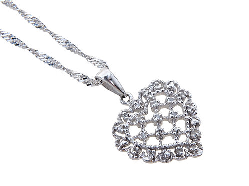 9ct White Gold Diamond Heart Pendant & Chain
