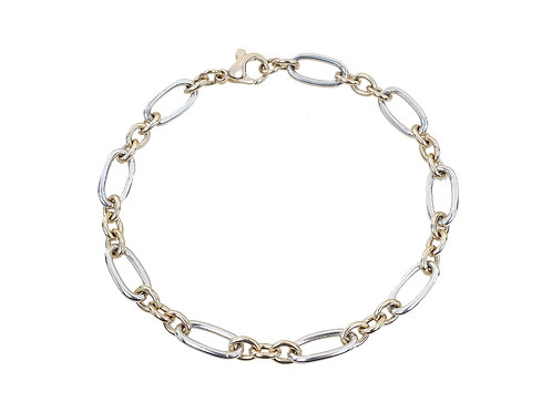 9ct Yellow & White Gold Ladies Oval Link Bracelet 9.7g