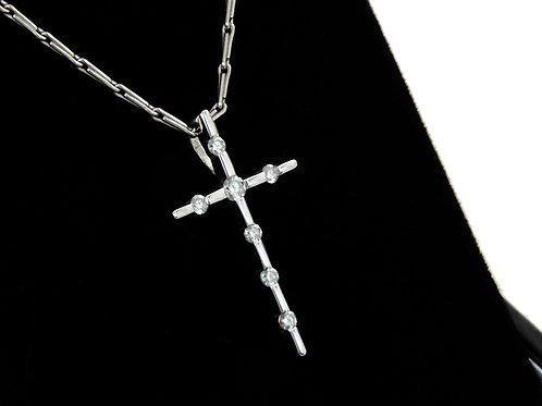 18ct White Gold Diamond Cross & Chain 0.18ct