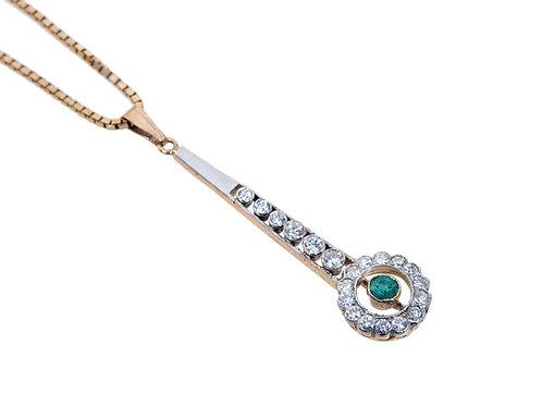 Antique Style Diamond & Emerald Dropper Pendant & Chain