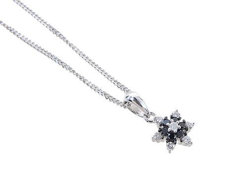 18ct White Gold  Diamond Flower pendant & Chain