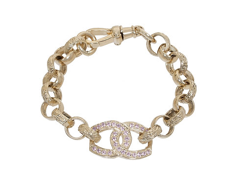 9ct Gold Childrens CZ Horseshoes Belcher Bracelet 15.4g