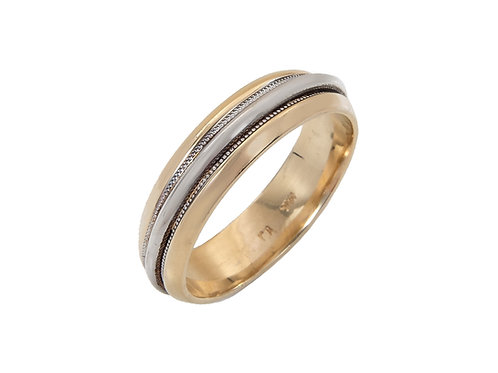 14ct Two Tone Gold Wedding Ring Uk Size Q Width 5.5mm