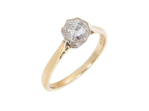 Vintage 18ct Yellow Gold  Diamond Solitaire Ring 0.50ct