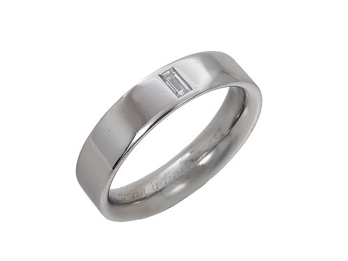 Platinum Gents Single Diamond Ring Uk Size O