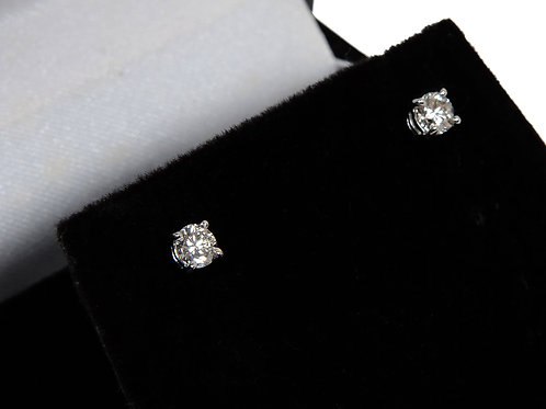 9ct White Gold Diamond Solitaire Diamond Earrings 0.51ct