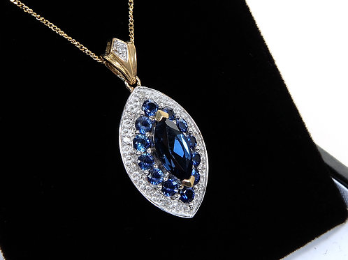 9ct Yellow Gold Sapphire & Diamond Pendant & Chain