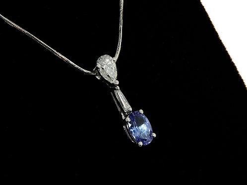 18ct White Gold Diamond & Tanzanite Dropper Necklace 0.90ct