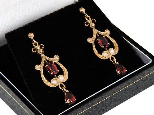 9ct Yellow Gold Seed Pearl & Garnet Chandelier Earrings