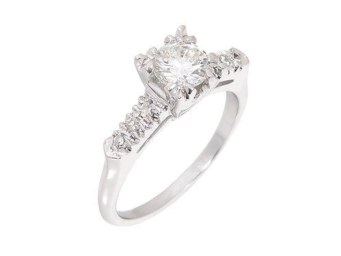 14ct White Gold Diamond Solitaire Ring 0.87ct