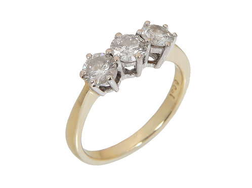 18ct Yellow Gold Diamond Trilogy Ring 1.00ct