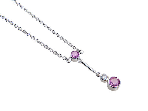 18ct White Gold Diamond & Pink Sapphire Dropper Necklace