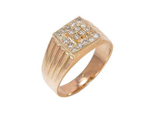 Gents 14ct Yellow Gold Diamond Ring 0.40ct