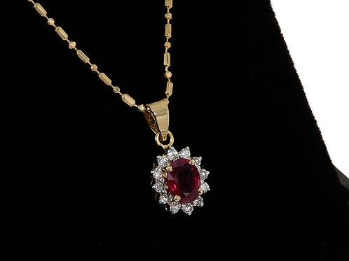 18ct Yellow Gold Ruby & Diamond Pendant & Chain 0.79ct Total
