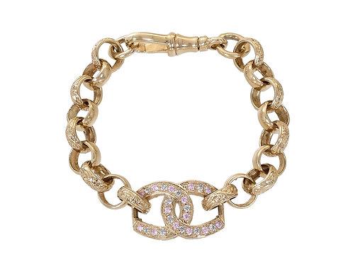9ct Gold Children's CZ Horseshoe Bracelet 15g