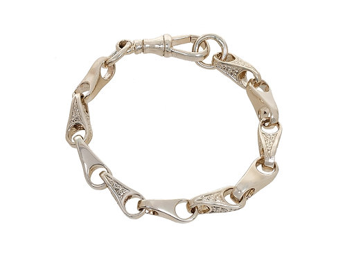 9ct Childrens Plain & Patterned Wishbone Bracelet 18.7g
