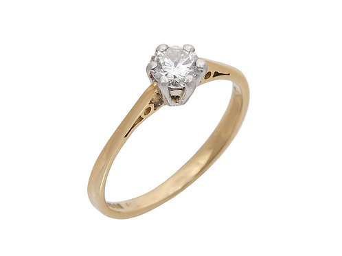 18ct Yellow Gold Diamond Solitaire Ring 0.35ct