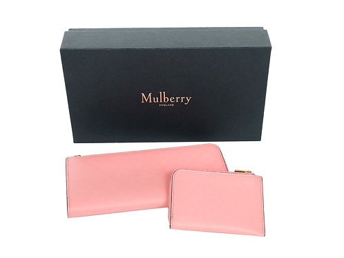 Mulberry Embossed Tree part zip Wallet with Coin Purse in Macaroon Pink New