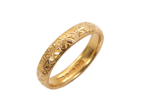 Antique Style 22ct Gold Fancy Wedding Ring Uk Size N
