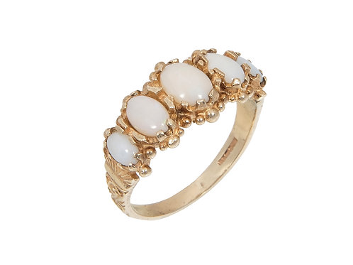 Antique Style 9ct Yellow Gold Opal 5 Stone Ring