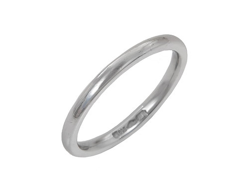 Platinum Ladies Wedding Ring Uk Size L Width 2mm Wide