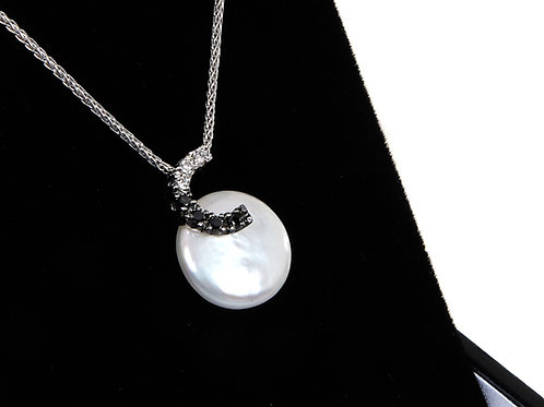 Yvel 18k White Gold Coin Pearl Diamond Amore Necklace letter C $1,502
