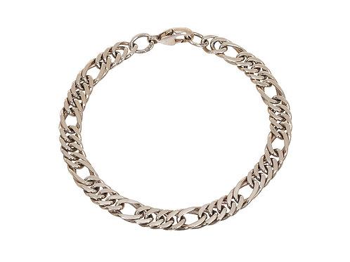 9ct White Gold Fancy Figaro Bracelet 11.6g