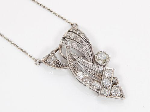 Edwardian 15ct White & Yellow Diamond Dropper Necklace 1.43ct