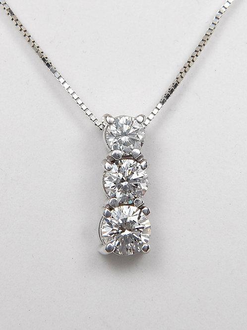 18ct White Gold Diamond Diamond Trilogy Pendant & Chain 1.65ct