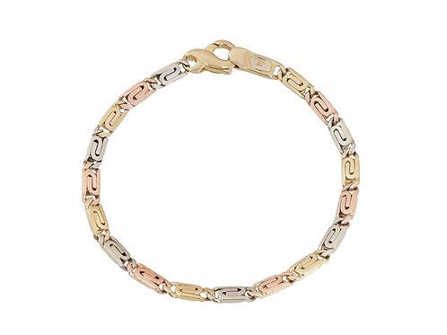 9ct Tri-Gold Unusual Link Bracelet 8.6g