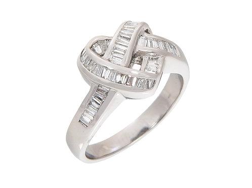 18ct White Gold Diamond Heart Ring 0.90ct