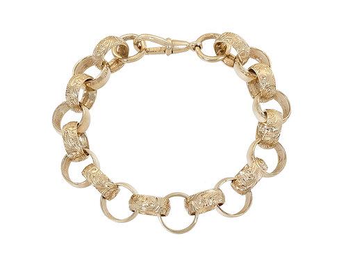 9ct Gold Plain & Patterned Belcher Bracelet 40.6g