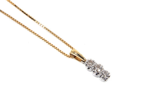 18ct Yellow &  White Gold Diamond Pendent With Chain