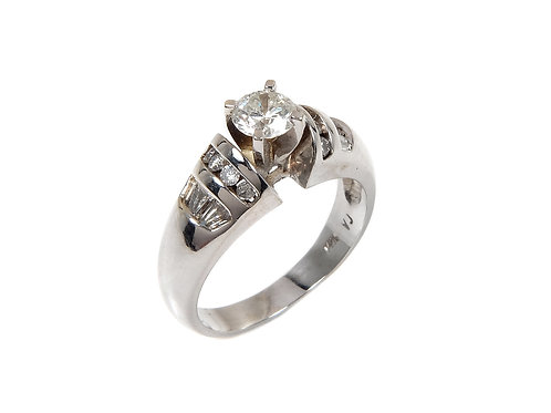 14ct white gold diamond solitaire ring 0.75ct