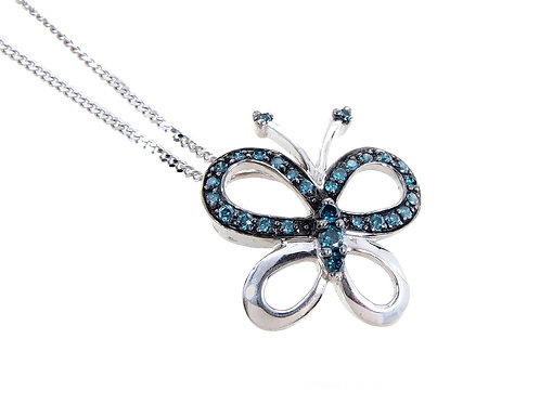9ct White Gold Blue Diamond Butterfly Pendant & Chain