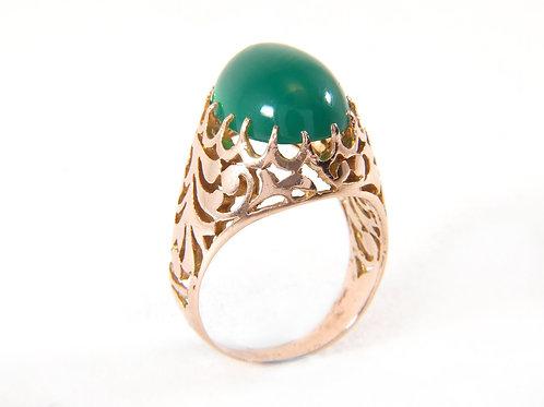 Vintage 14ct Rose Gold large Jade / Jadeite ring