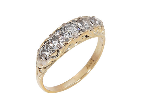 Edwardian Antique Diamond 18ct Gold Ring 0.90ct