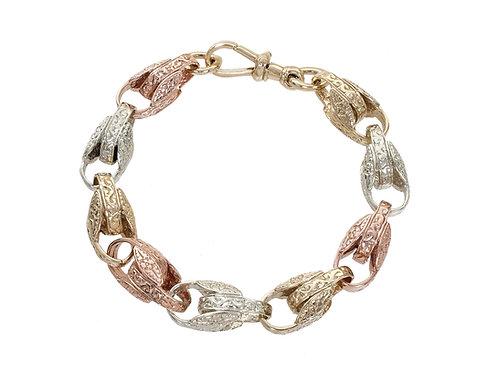9ct Tri-Gold Patterned Tulip Bracelet 44.3g