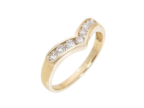 18ct Yellow Gold Diamond Wishbone Ring 0.33ct