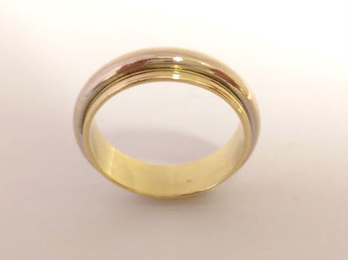18ct Gents White & Yellow Gold Wedding Ring Uk Size P