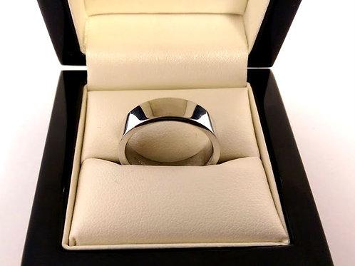 18ct white gold wedding band 6mm size uk N