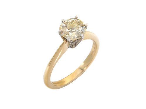 18ct Yellow Gold Diamond Solitaire Ring 1.27ct