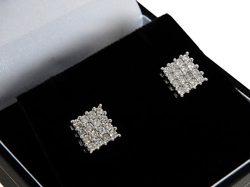 18ct White Gold Diamond Cluster Earrings 0.64ct