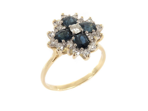 18ct Gold Sapphire & Diamond Cocktail Ring