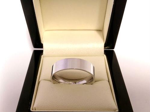 18ct white gold gents wedding band 6.2mm uk size U