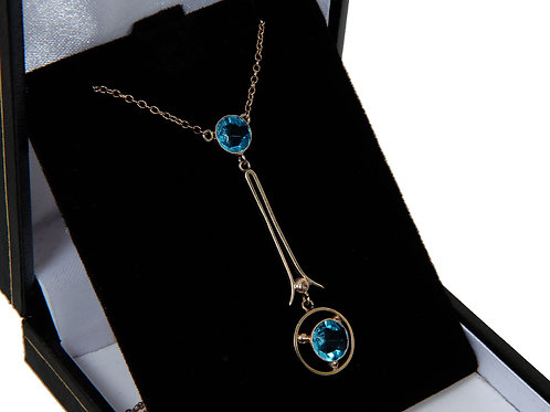 Edwardian 9ct Rose & Yellow Gold Dropper Necklace