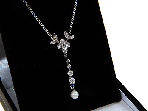 18ct White Gold Diamond & Pearl Necklace