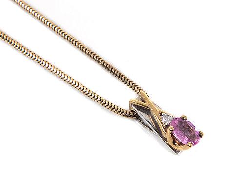 9ct Gold pink Sapphire & Diamond Pendant & Chain