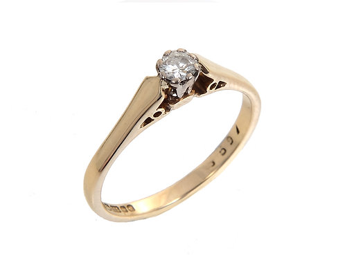 Vintage 9ct Yellow Gold Diamond Solitaire Ring 0.16ct