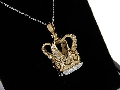 9ct White & Yellow Gold Crown Pendant & Chain